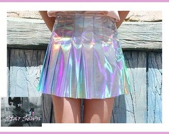 Holographic Pleated Mini Skirt