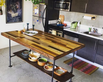 Kitchen Island w/ pipe base and wooden plank top