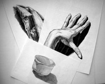 Black and white art Black pen pencil sketch Still life Set of 3 wall art Quick drawing from nature Original sketch Unique graphic art