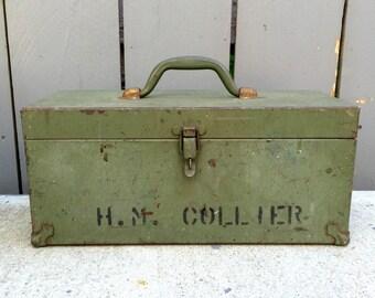 Vintage Kennedy Kits Green Metal Tool Box; Kennedy Kits CS16; Metal Toolbox; Vintage Tool Box; Green Tool Box