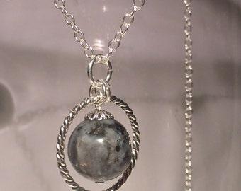 Tibetan silver pendant and hard stone