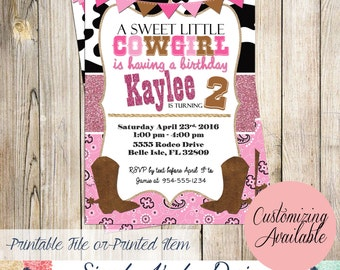 Cowgirl Birthday Invitation - Girl's Rodeo Invitation - This ain't my first Rodeo It's My Second