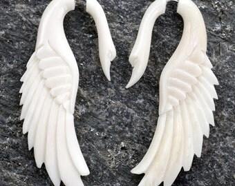 White Bone Swan Angel Wing Spiral Fake Gauges Earrings