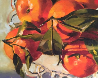 happy // original art // oranges // kitchen art // orange painting // fruit art // fruit painting // still life art