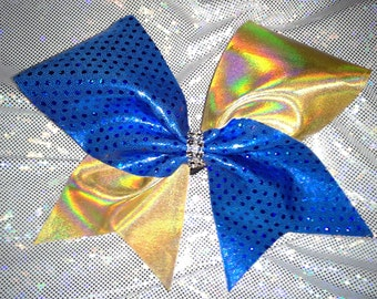 Royal Blue and Gold Bow