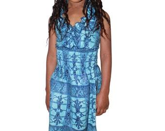 Beautiful  Africa Wax Print Girls Halter Neck Bare Back Dress