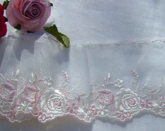 1.55 metres Pretty White and pale pink Embroidered Tulle