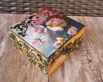 Wood Box, Decoupaged handmade box,Jewelry storage box, Flower Jewelry box ,memory box, Shabby chic Jewelry box