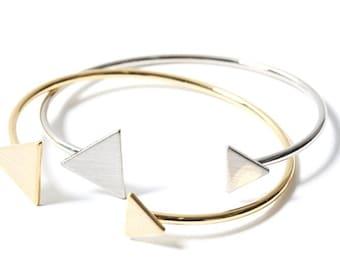 Triangle Cuff Bracelet, 18k Gold Plated Triangle Bracelet, Minimalist Silver Bracelet