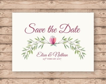 Watercolour Berry Save the Date Postcard - Print At Home File or Printed Invitations - Berry Floral Watercolour Save The Date Postcard