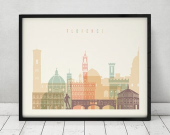 Florence print, Poster, Wall art, Italy cityscape, Firenze skyline, City poster, Typography art, Gift, Home Decor Print, ArtPrintsVicky.