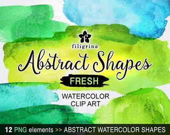Abstract shapes blue green digital clip art. 12 hand painted textures, brush strokes, banner, splash, overlay, backgrounds, splodge, splotch
