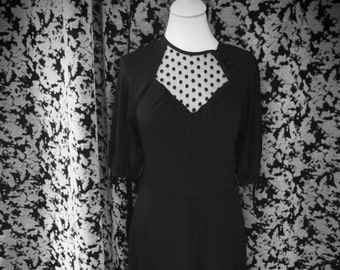 Vintage Dress with Polkadot Sheer Details and Buttons