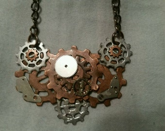 Steam Punk hammered copper wire sprockets, watch parts and wire industrial pendant on chain