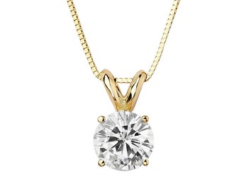2.0 CT Round Cut 14K Yellow Gold Solitaire Pendant Box Chain Necklace with Chain