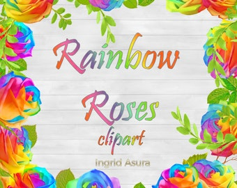 12 Elements Digital Clipart | Rainbow Roses | Colorful Flowers | Planner Clip Art | Floral Graphics