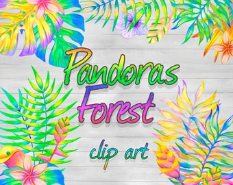 12 Clip Art Images | Tropical Forest Summer Colorful Bright Elements | Vacation Clipart | Hand Painted Graphics