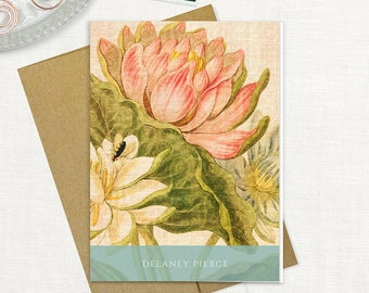 personalized stationery set - ANTIQUE LOTUS BLOOMS - set of 8 folded note cards - stationary - floral - botanical - flower