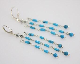 Turquoise three strand sterling silver chandelier earrings, long dangle earrings