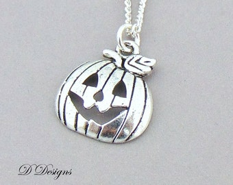 Pumpkin Necklace, Pumpkin Charm Necklace, Halloween Necklace, Silver charm Necklace, Pumpkin Pendant,  Gifts for her, Childrens Gifts