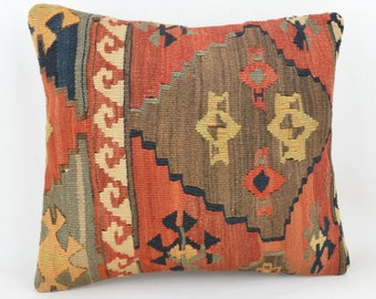 Only wool kilim cushion 40 x 37 cm, 16x15inc, home decor, decorative pillow, K16