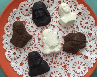 Star Wars Chocolates (12 qty) - Star Wars Chunky Chocolates - Darth Vader - Chewbacca - C3PO - R2D2 - Yoda - Storm Trooper
