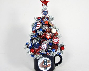 4th of July Tree - Patriotic Decor - Holiday Decor - Miniature Tree - Tabletop Decoration - Holiday Centerpiece - Stars and Stripes - Flags