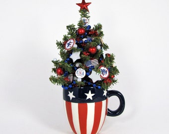 Miniature Decorated Tree - 4th of July Decoration - Patriotic Decor - Tabletop Tree - Holiday Decoration - Stars and Stripes - Flag Decor