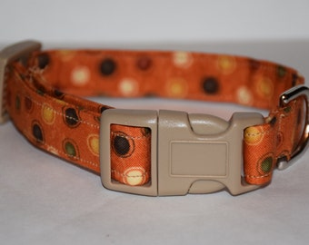 Fall Dog Collar – Halloween Dog Collar – Harvest Dots Dog Collar – Fall Fabric Dog Collar – Halloween Handmade Dog Collar
