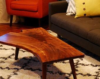 Walnut coffee table - MEDIUM - Live edge slab - Mid Century Modern