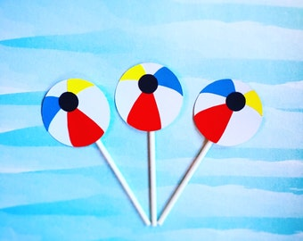 12 Beach Ball Cupcake Toppers, Pool Party Cake Toppers, Summer Party Cake Toppers, Beach Ball Party, BBQ Party, Swim Party, Beach Party