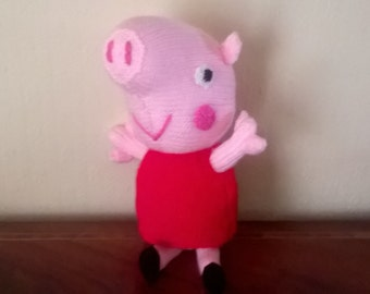 Hand Knitted Peppa Pig Soft Toy (ALL proceeds to the CF Trust UK)