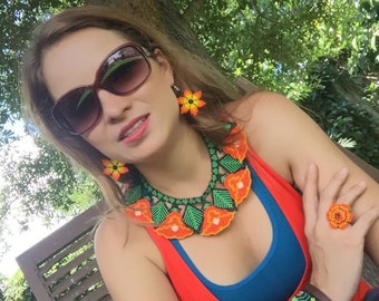 Huichol art necklace