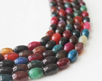 Gemstone Beads, 8x12mm Beads, Multi Color Beads, Faceted Agate, Rice Shape Beads, Colorful Beads, Full Strands,
