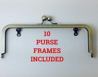 "10 Ball Clasp Purse Frames 8""x3"" ANTIQUE BRASS with Chain Loops"