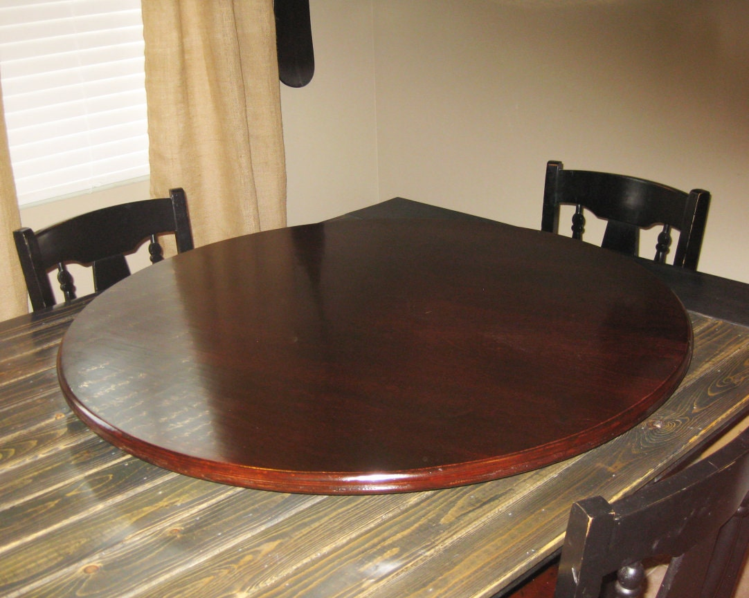 Red Mahogany Wood Lazy Susan For Table Centerpiece Pic