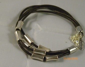 Leather and silver barrel bracelet