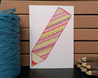 Card Pencil - A6 Postcard - Blank Card - Just Because Card - Card Recycled Paper.