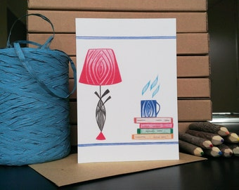 Card Twilight Lamp and Books - A6 Greeting Card with Envelope - Blank Card - Just Because Card - Card Recycled Paper.