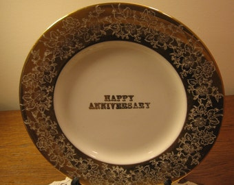 "Vintage Anniversary 10 1/4 Inch Plate, Plate by Milbern Fine China,""Happy Anniversary"", Anniversary Gift, 23 Kt.Gold, Made in USA"
