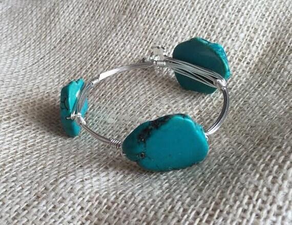 Clearance SALE, Teal Bangle Bracelet, slab Bracelet, Tropical Bangle, slab bangle, Wire wrapped bangle