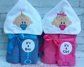 Embroidered hooded towel.Baby hooded towel.Its a boy,Its a girl hooded towel
