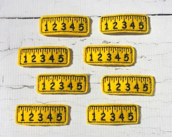 Ruler hair clips.Embroidered ruler felt clips.Set of 2 clips.