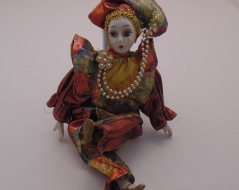 Porcelain Ballerina Clown Lady Doll Sitting