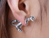 Dinosaur Double Sided Earrings - T-Rex - Godzilla - Antique Silver
