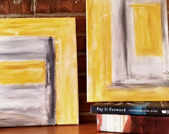 Abstract Painting - yellow & gray