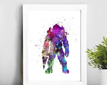Bioshock print, Bioshock fan art, Watercolor Art, Illustration Print, Home Decor, Baby Art, Gift Idea, Nursery,