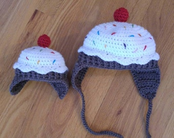 Crochet cupcake hat, Made to Order
