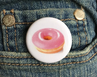 Strawberry donut button or magnet