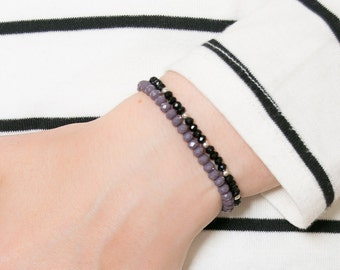 Purple crystal bracelet, lilac beads bracelet, glass beads bracelet, friendship, wish bracelet, gift bridesmaid, healing crystal bracelet